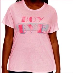 Pink Graphic Short Sleeve Tee Shirt Plus Size 2X